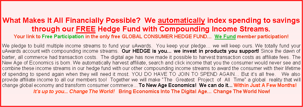 Text Box: What Makes It All Financially Possible?  We automatically index spending to savings through our FREE Hedge Fund with Compounding Income Streams.